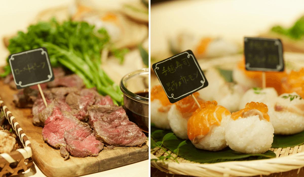 ローストビーフと手毬寿司